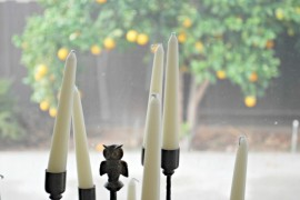 Use Museum Wax to Anchor Candles | via Pancakes and French Fries