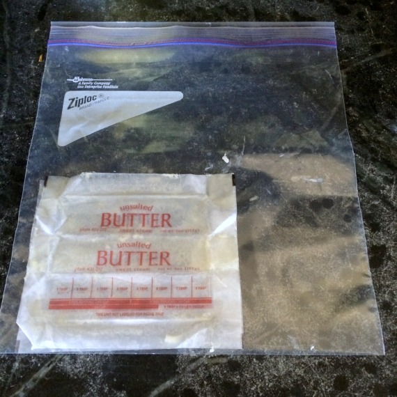 Save butter wrappers in the freezer for easy greasing/flouring of pans later.